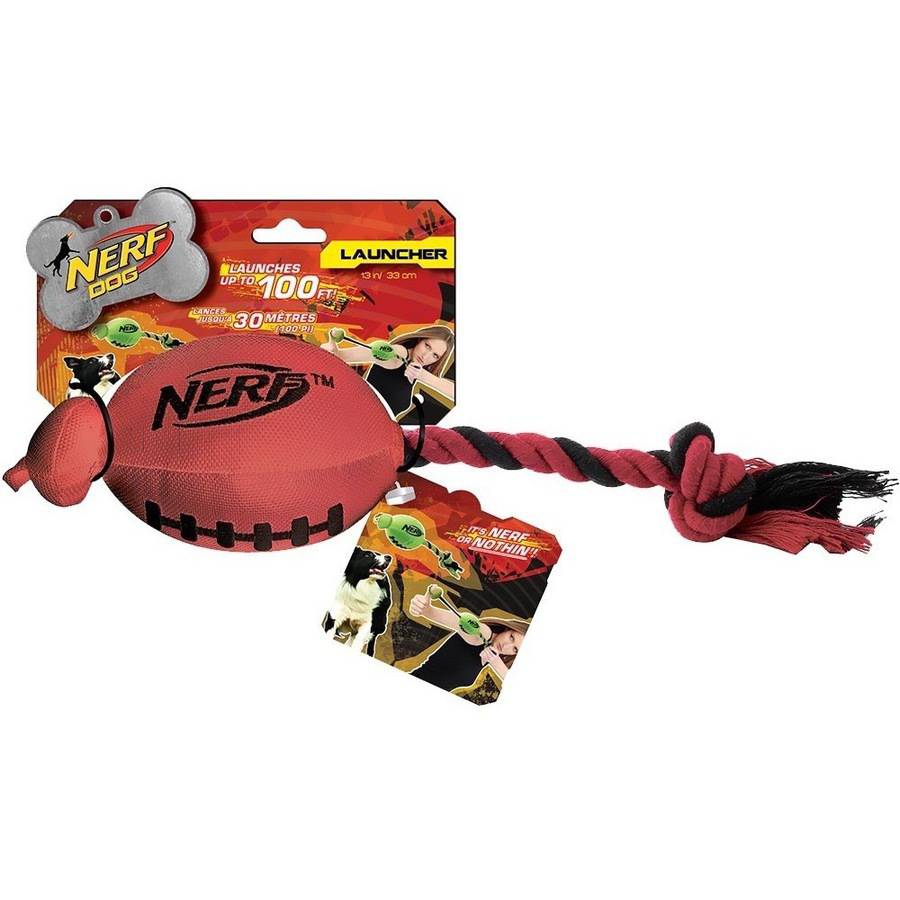Nerf Dog Football Fling Slinger, Red/Black