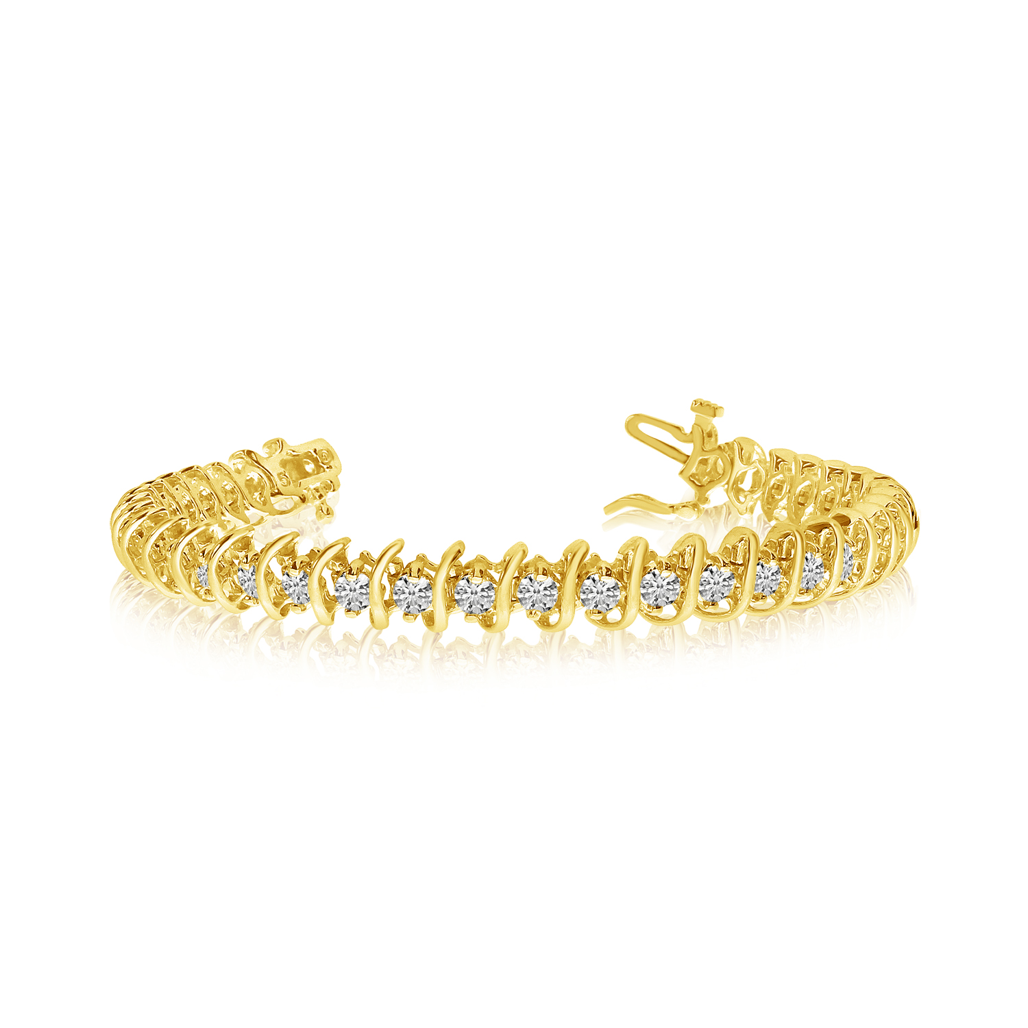 14k Yellow Gold Rollover Diamond Tennis Bracelet by