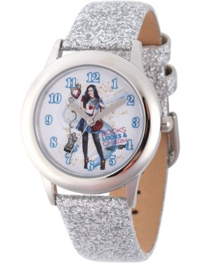 Disney Descendants 2 Evie Tween Girls' Stainless Steel Watch, Silver Glitter Leather Strap