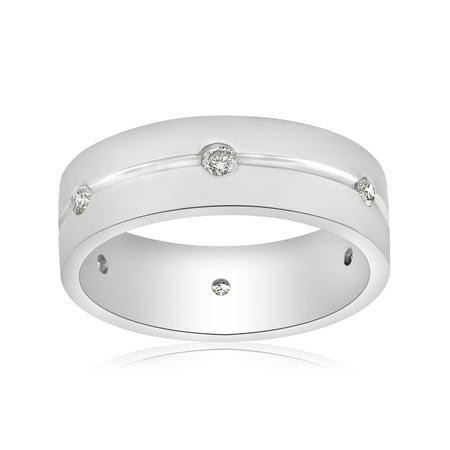 1/2ct Diamond Mens Ring 8mm Flat High Polished Comfort Fit Wedding (Diamond Flat Comfort Fit Ring)