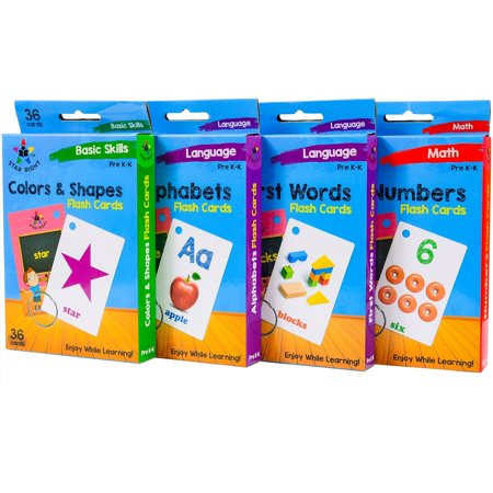 Star Right Flash Cards Set of 4 - Numbers, Alphabets, First Words, Colors & Shapes - Value Pack Flash Cards with Rings for Pre K - K - image 6 of 8