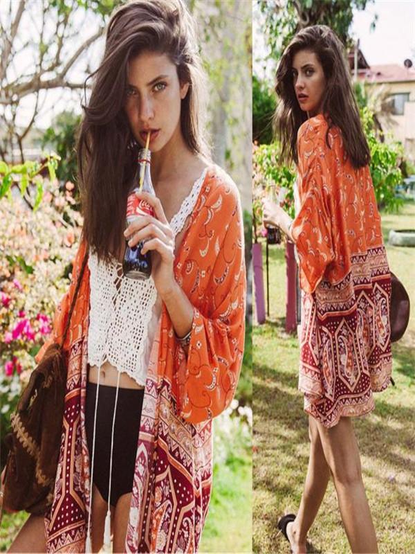 Women Boho Printed Chiffon Loose Shawl Kimono Cardigan Tops Cover up Blouse L