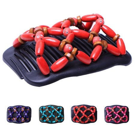 Retro Wooden Beads Hair Comb Double Row Hairpin Insert Women Hairstyle Clip - image 6 of 7