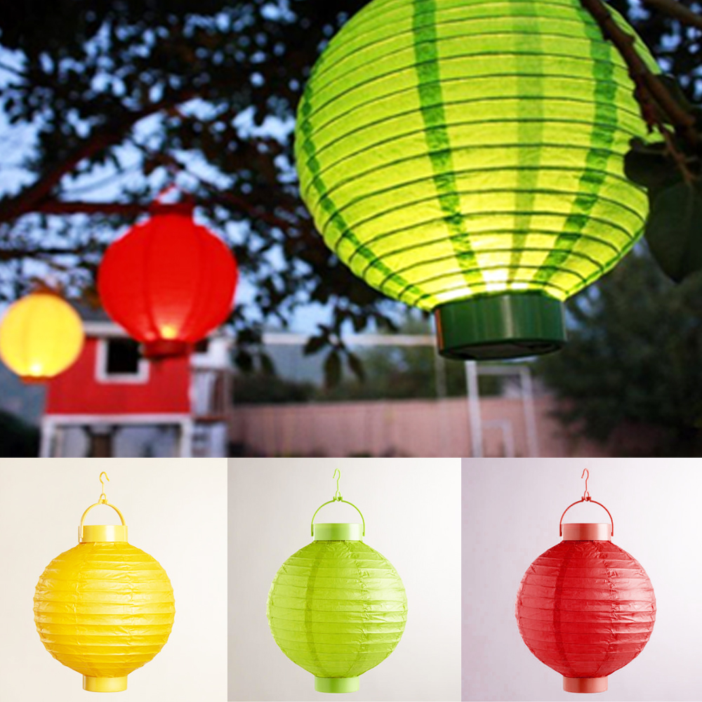 "3 Multicolor Round Chinese Led Paper Lanterns 8"" Wedding Party Decoration New !"