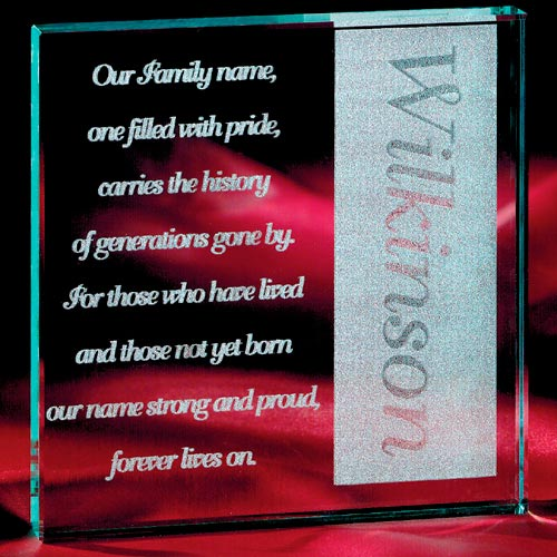 Personalized Family Name Glass Block
