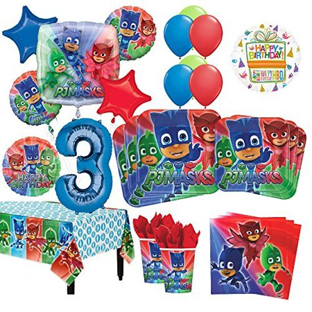 PJ Masks 3rd Birthday Party Supplies 16 Guest Kit and Balloon Bouquet Decorations 96pc - Eighties Party Decorations