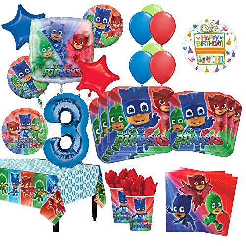 PJ Masks 3rd Birthday Party Supplies 16 Guest Kit and Balloon Bouquet Decorations 96pc