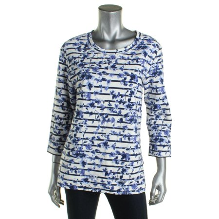 Karen Scott Womens Striped Floral Print Casual Top