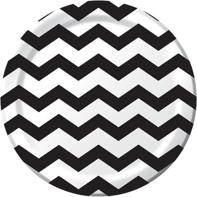 Creative Converting 423260 9 In. Dinner Plates, Chevron & Dots - Black Velvet - Case of 96