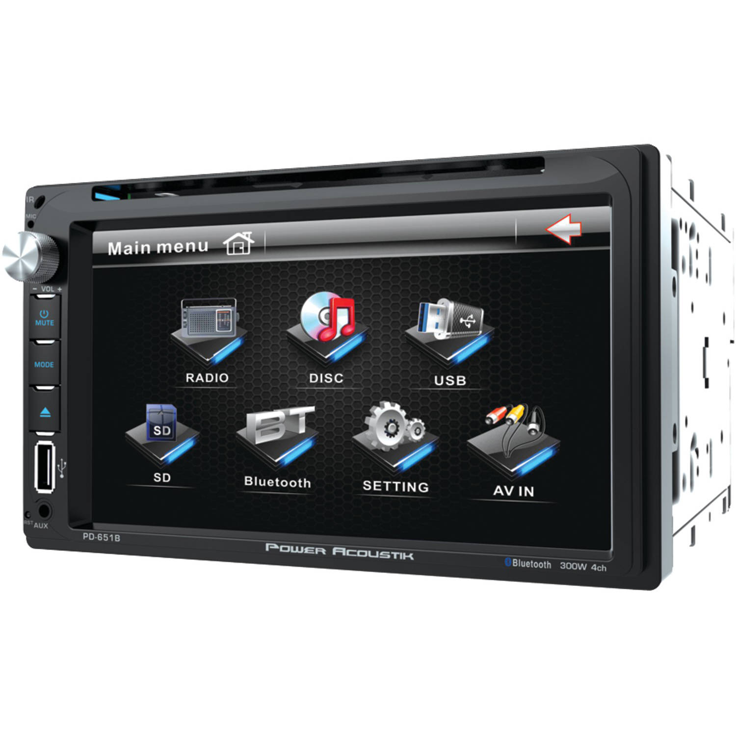 """Power Acoustik PD 651B 6.5"""" Double-DIN In-Dash LCD Touchscreen DVD Receiver with Bluetooth"""