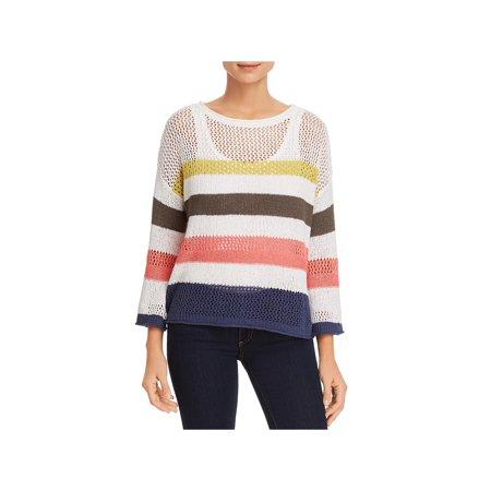 Links Stitch Sweater - Three Dots Womens Striped Open Stitch Sweater