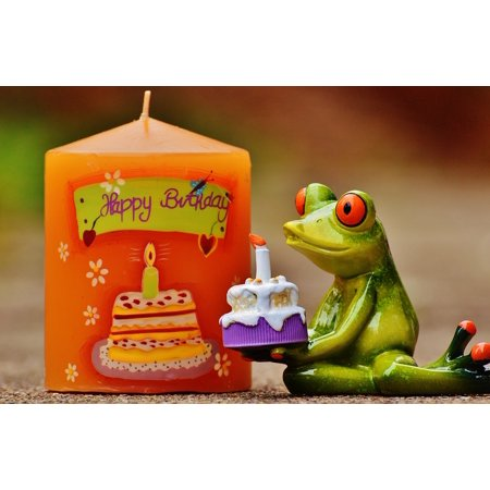 LAMINATED POSTER Greeting Card Greeting Happy Birthday Frog Birthday Poster Print 24 x 36](Halloween Cards To Color And Print)