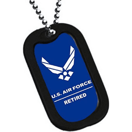 United States AIR Force Armed Forces Retired Officer Rank Division Wings Logo Symbols - Military Dog Tag Luggage Tag Key Chain Metal Chain Necklace