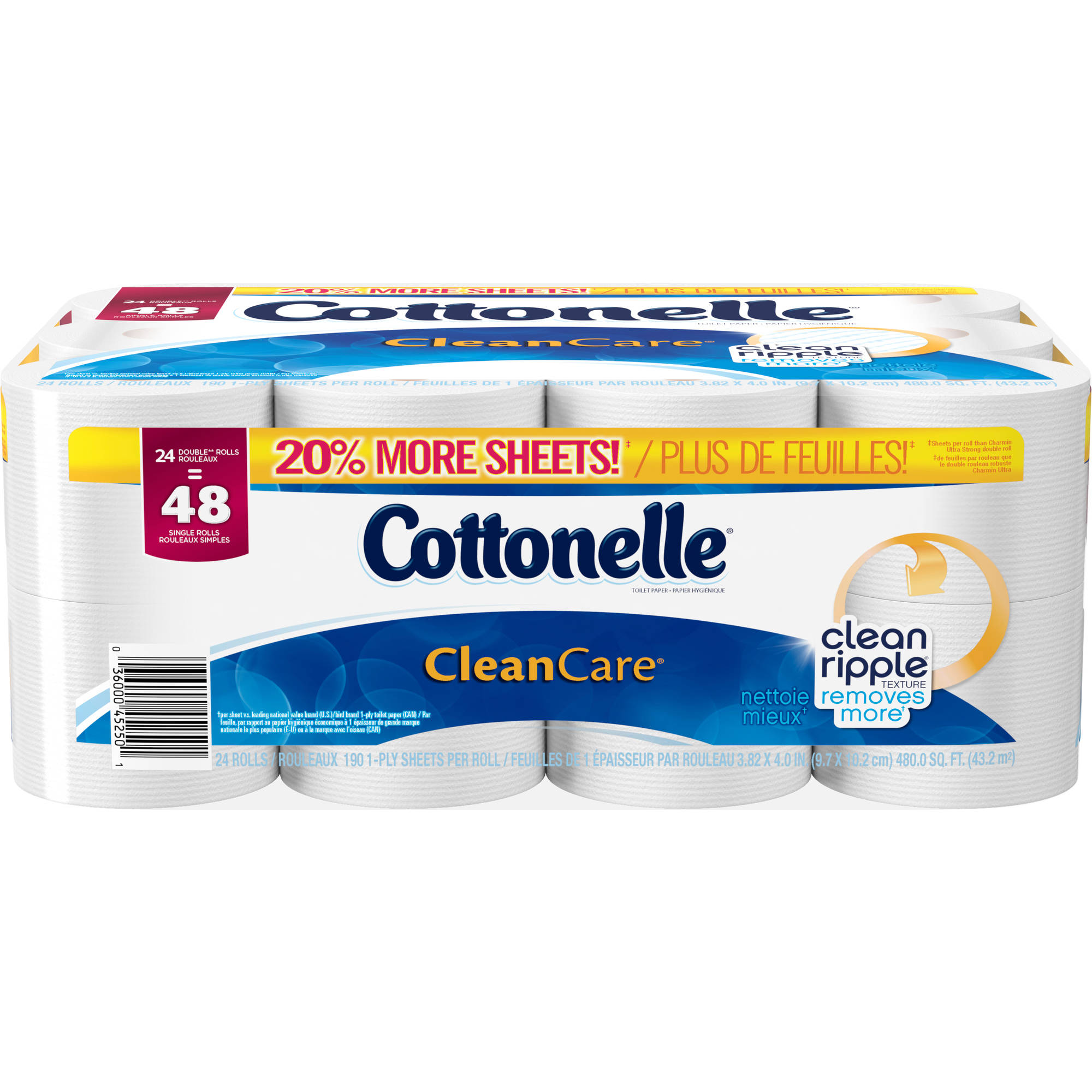 Cottonelle Clean Care Double Roll Toilet Paper, 190 sheets, 24 rolls