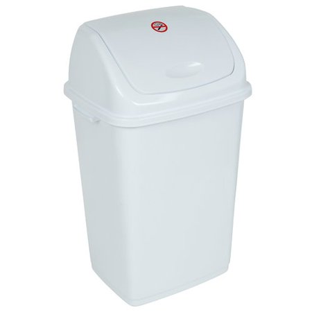 Superio Swing-Top Trash Can. 50 Liter/13 Gal. (White)