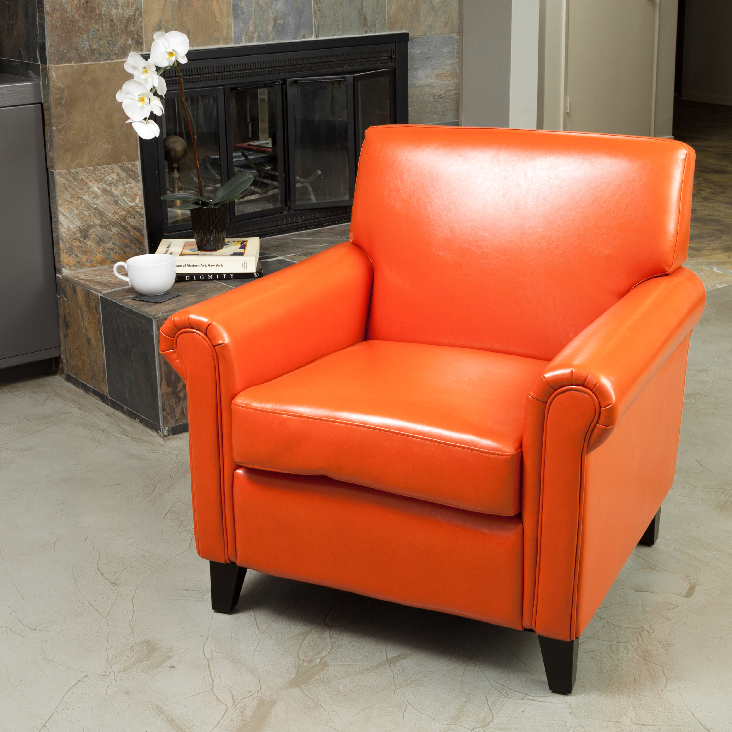 Noble House Modern Contemporary Bonded Leather Club Accent Chair, Burnt Orange
