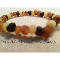 Raw Unpolished Multi Baltic Amber Bracelet for Big Kid, Child, or Adult