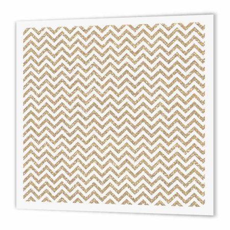 3dRose Gold Chevron Faux Glitter image of glitter, Iron On Heat Transfer, 10 by 10-inch, For White
