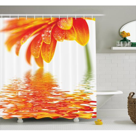 Flower Decor Shower Curtain, Sun Flower Reflection on Water in a Rainy Day with Leaves in a Water River Photo, Fabric Bathroom Set with Hooks, 69W X 70L Inches, Orange, (Reflector Shower)
