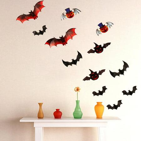 Vinyl Removable 3D DIY PVC Bat Wall Sticker Decal Home Halloween Decoration](Home Diy Halloween)