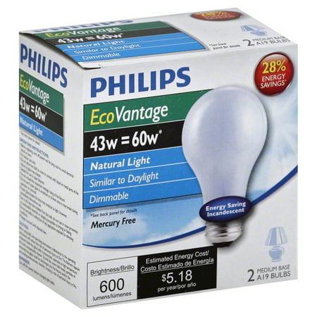 Halogen Blue Bulb - Philips 43w A19 E26 Natural Light Daylight EcoVantage Halogen - 2 light bulbs