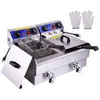 PNR 23.4L 3000W Electric Commercial Deep Fryer Countertop Dual Tanks with Timers Drains French Fry Restaurant