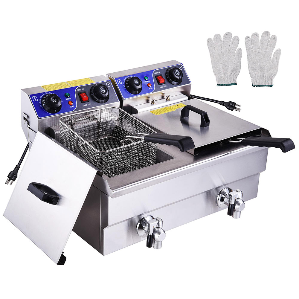 PNR 23.4L 3000W Commercial Electric Deep Fryer Countertop Dual Tanks with Timers and Drains Reset Button French Fry Restaurant