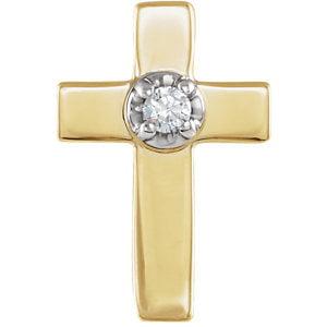 14K Yellow & White 9x7mm .01 CTW Diamond Cross Lapel Pin by
