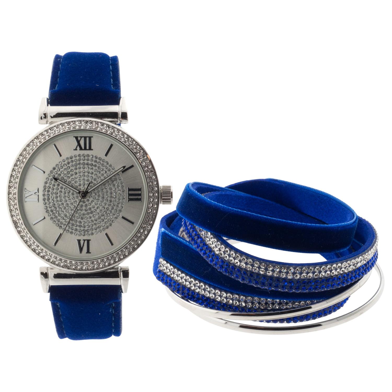 Ladies Interchangable Analog Watch Set, Navy Blue