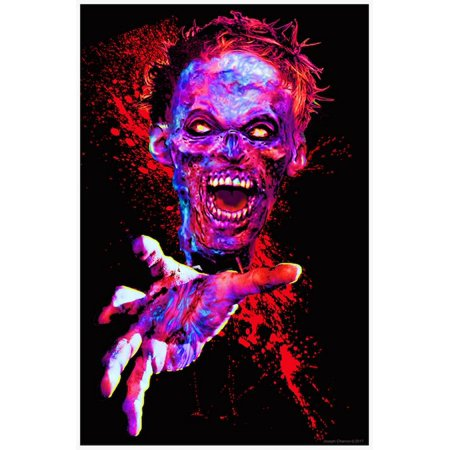 Zombie Touch Flocked Blacklight Poster - 23