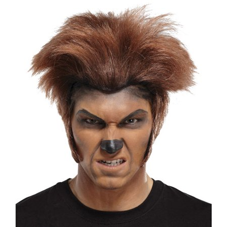 Wolfman Dark Brown Wig Adult Halloween Accessory (Brown Hair Wig Halloween)