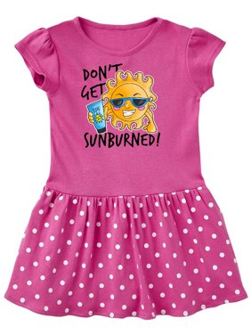 Dont Get Sunburned with Sun in Sunglasses Holding Sunblock Toddler Dress