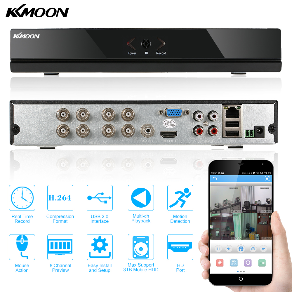 KKmoon 8-Channel 960H D1 CCTV Network DVR H.264 HDMI Video Playback Security Monitoring