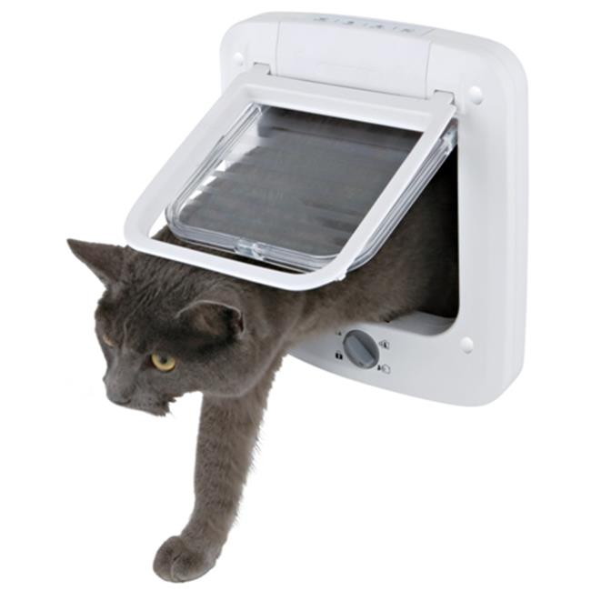 TRIXIE Pet Products 3850 4-Way Cat Door With Rotary Lock, White