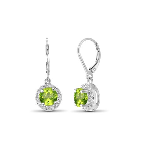 1.00 Carat T.G.W. Peridot And White Diamond Accent Sterling Silver Drop Earrings