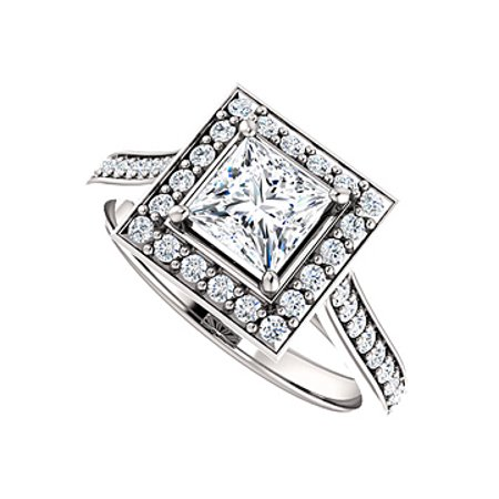 Princess Cut Cubic Zirconia Square Halo Ring 925 Silver - image 1 of 2