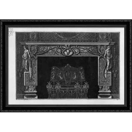 Fireplace in the frieze horse skull between two cameos; rich interior wing 40x28 Large Black Ornate Wood Framed Canvas Art by Giovanni Battista Piranesi - Large Cameo Glass Art