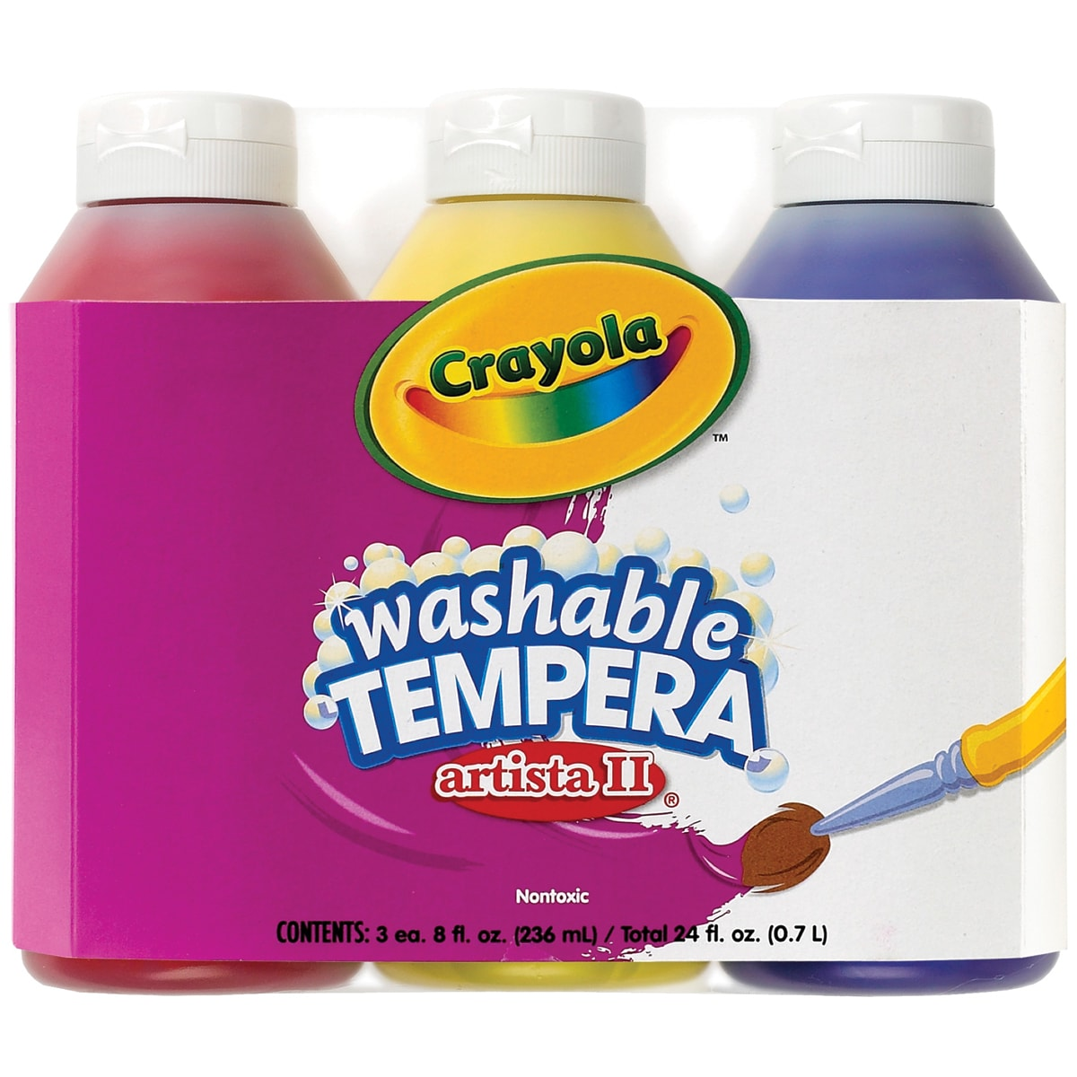Crayola 8 Ounce Artista II Primary Color Paint Set, 3 Count