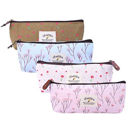 Frcolor 4pcs Compact Purse Pouch Bag Floral Makeup Bag Pencil Case Cosmetic Bag Organizer