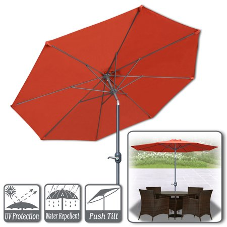 UBesGoo 9FT 8Rib Patio Umbrella Outdoor Market Sun Aluminum Umbrella Crank Shade RED ()
