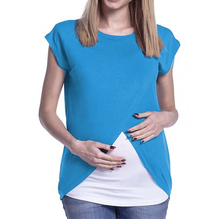 Maternity Cross Bodice - Jchiup Womens Maternity Wrap Nursing Top Short Sleeve Round Neck Cross Double Layer Blouse T Shirt