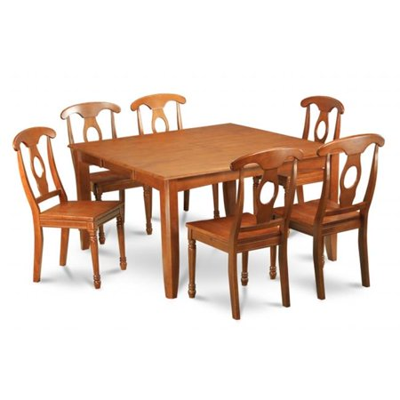 East West Furniture PFNA9-SBR-W 9 Piece Formal Dining Room Set Dining Table With Leaf and 8 Dinette Chairs