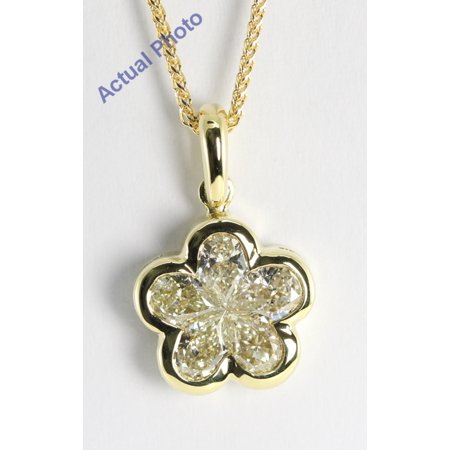 18k Yellow Gold Invisible Setting Pear Cut Diamond Flower Pendant (1.08 Ct, M-N Color, VS