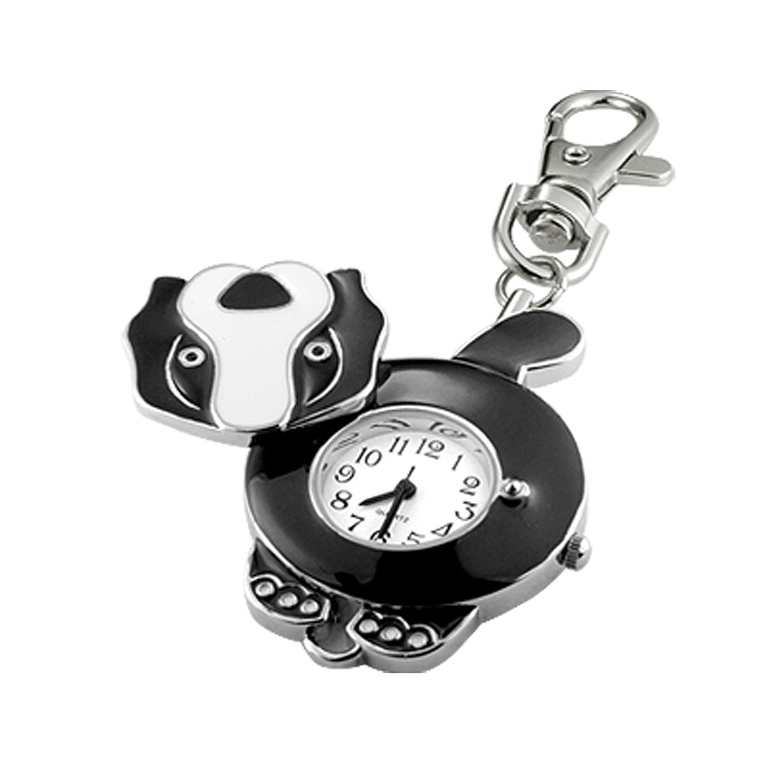 New White Round Dial Steel Pocket Watch Dog Shaped