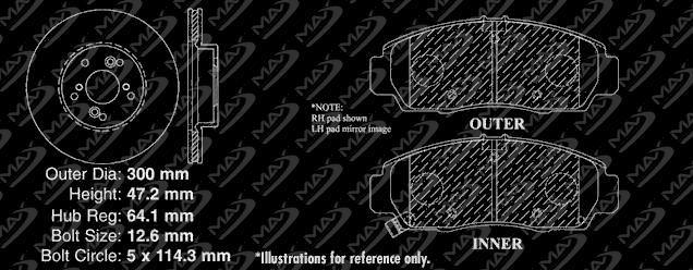OE Series Rotors + Ceramic Pads Max Brakes Front /& Rear Premium Brake Kit Fits: 2008 08 2009 09 2010 10 Honda Accord EX//EX-L Models KT069543