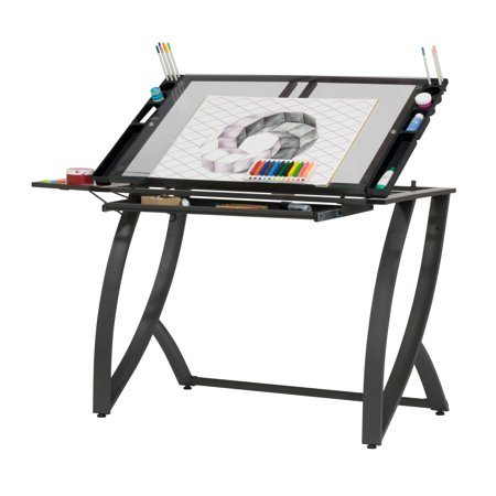 Studio Designs Futura Luxe Drawing / Craft Table with Drawer and Folding Side Shelf (Craft Table With Shelves)