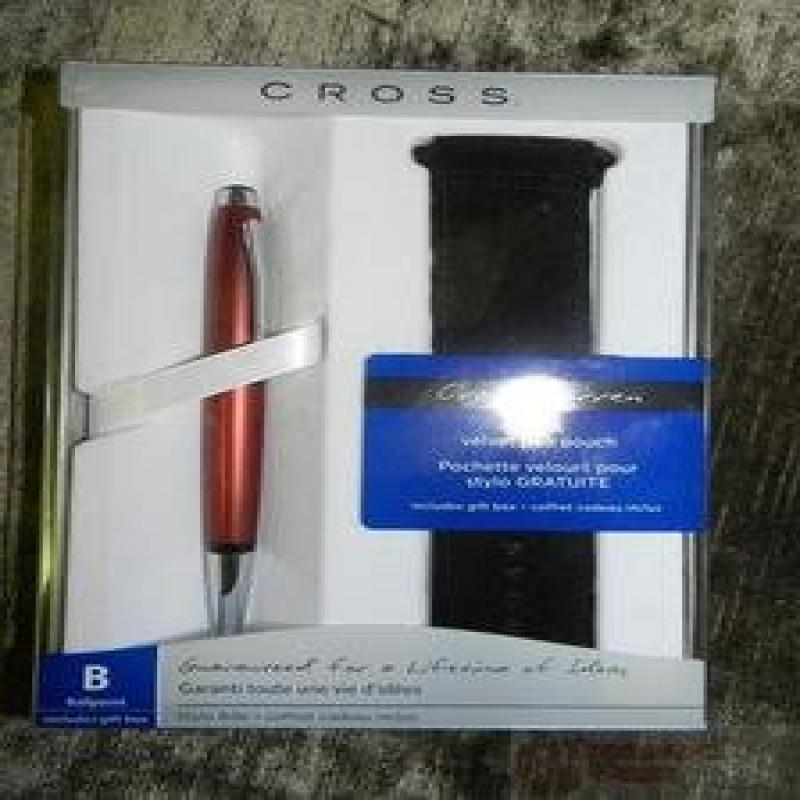 AT Cross Warren Ballpoint Pen Red with Velvet Pen Pouch A...