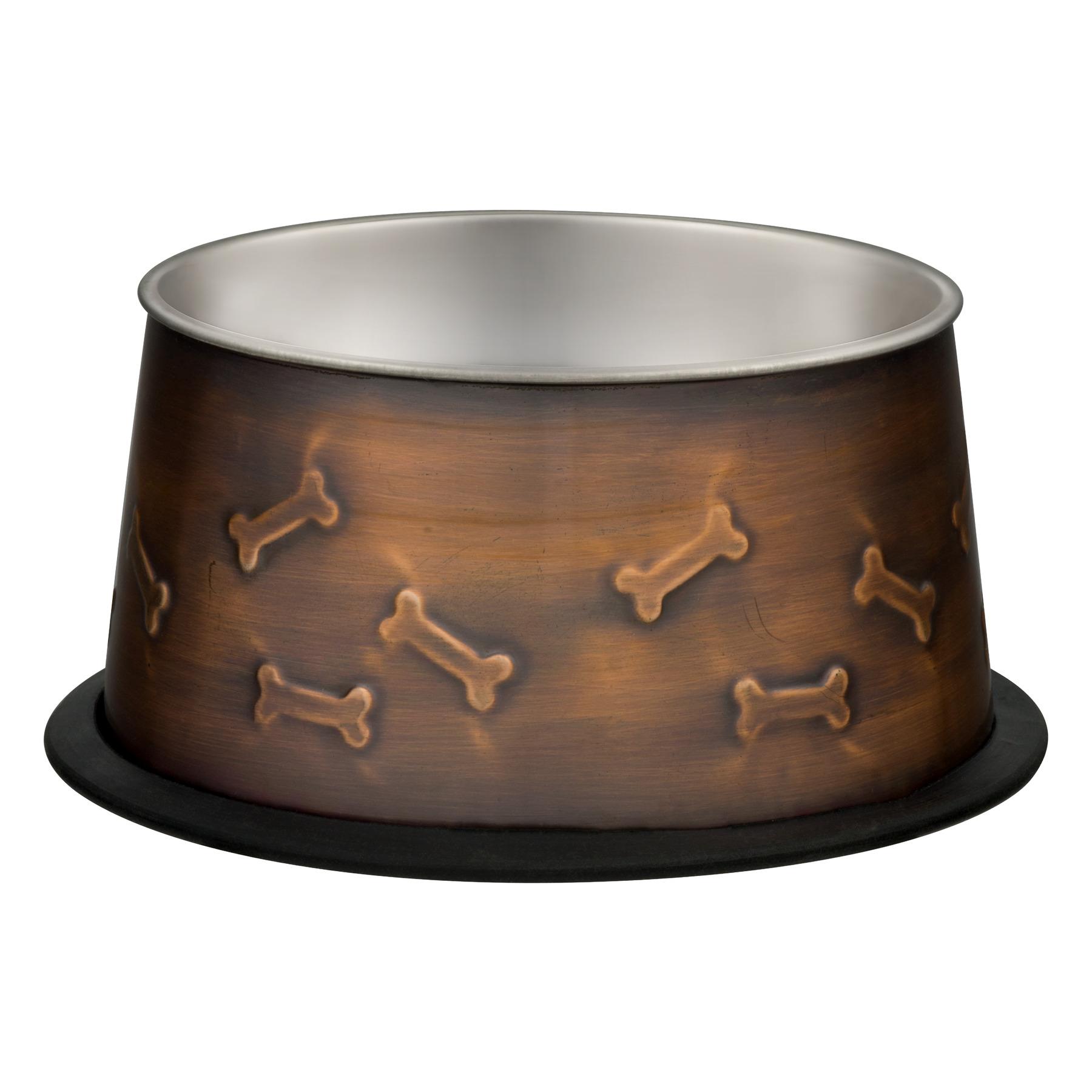 Loving Pets Ruff-N-Tuff No-Tip No-Slip Dish Antique Copper, 1.0 CT