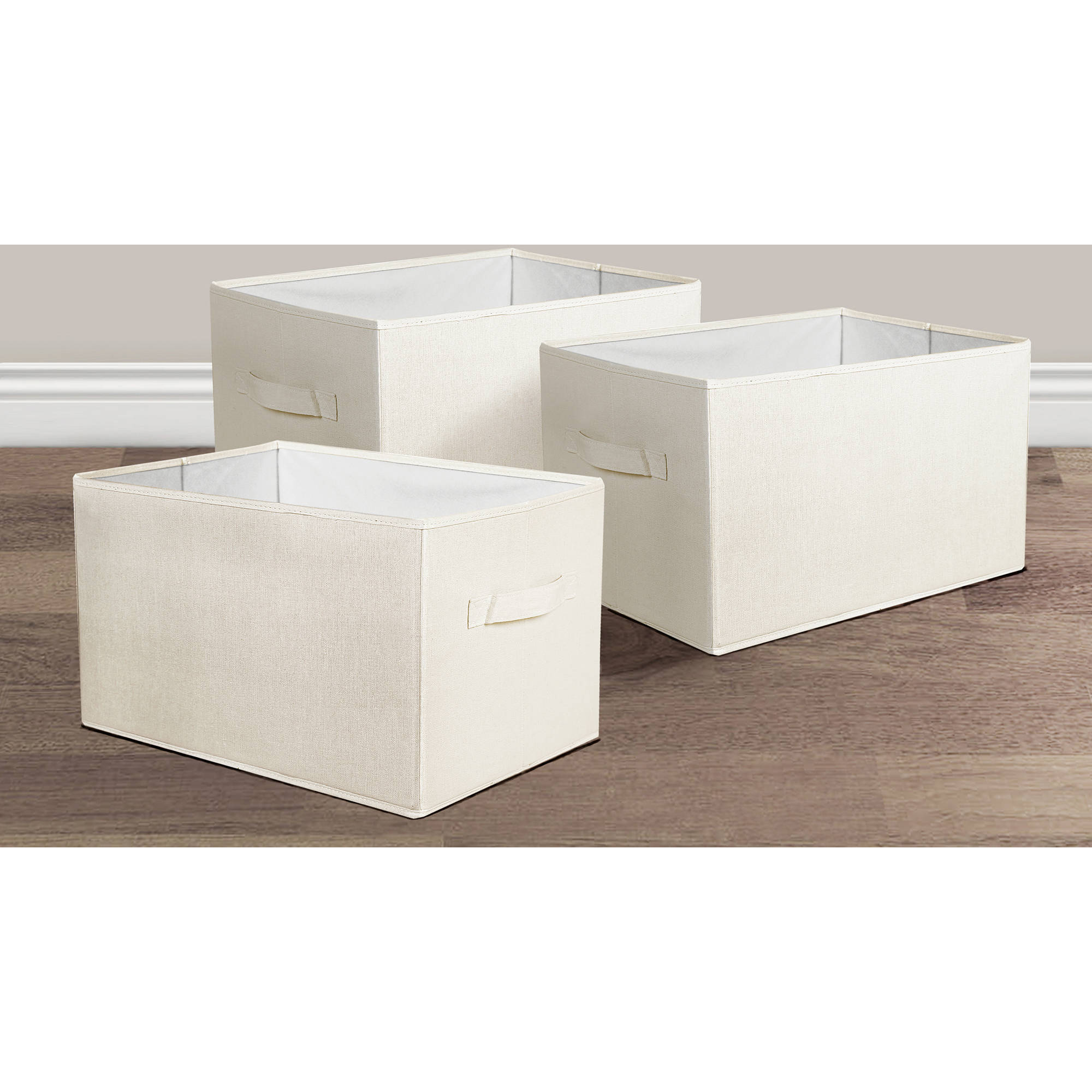 Linen Fabric Covered Collapsible Box Ivory 3Pc Set