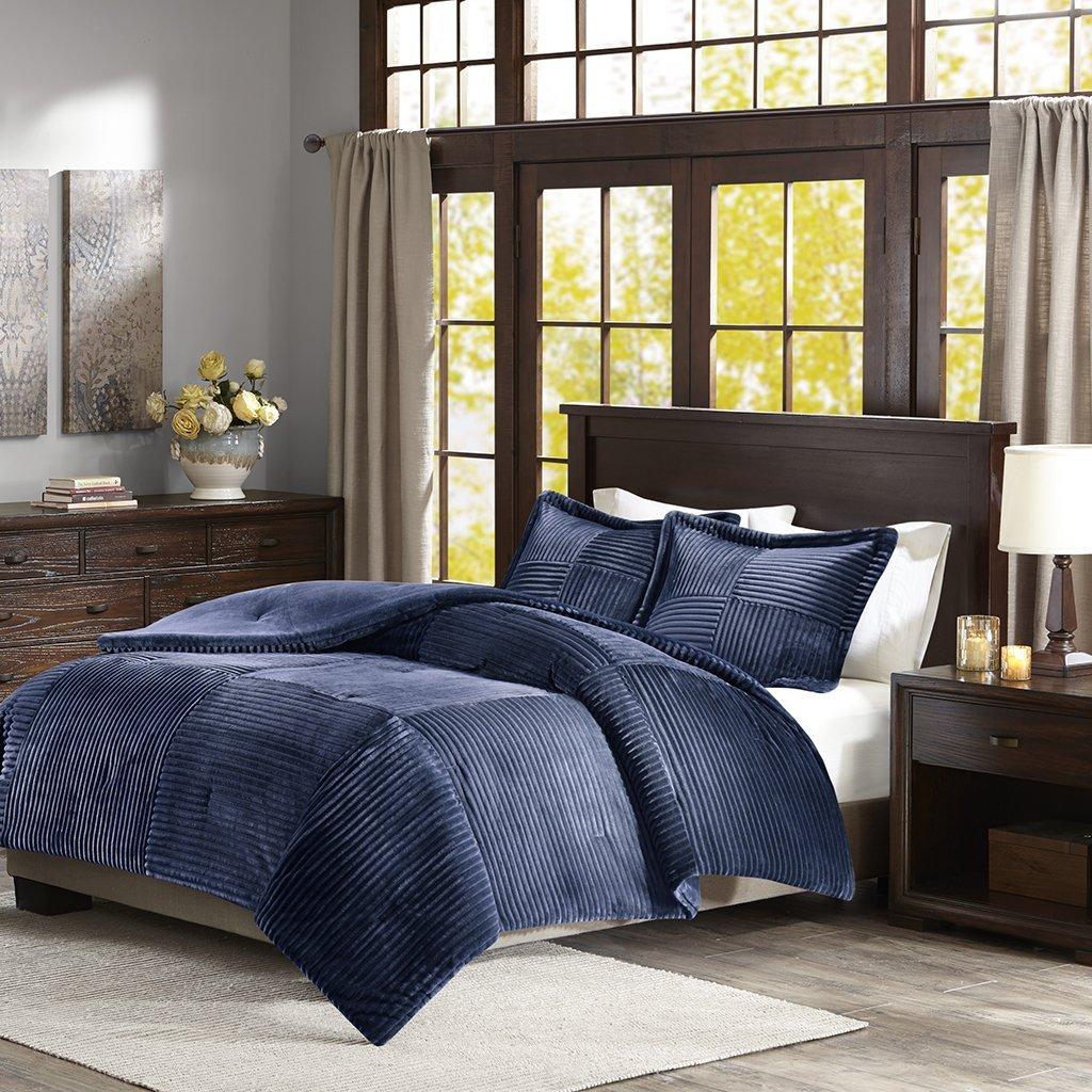 Parker Corduroy Plush Comforter Mini Set Navy King/Cal King, This plush comforter mini set features a corduroy like pattern creating a cozy and inviting look..., By Premier Comfort